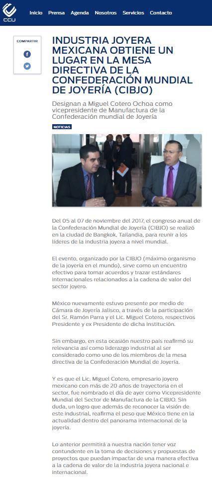 31cd4080c017 Industria joyera mexicana obtiene un lugar en la mesa directiva de la  Confederación Mundial de la Joyería (CIBJO)